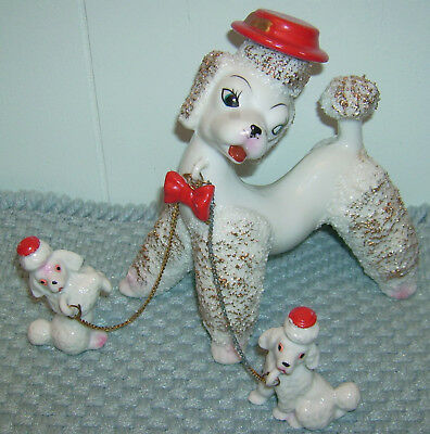 VTG - RETRO - 1950's - SET OF 3 POODLE DOGS - SPAGHETTI TRIM - RED HATS - NICE -
