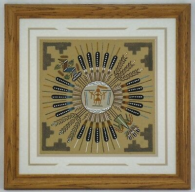 AUTHENTIC NAVAJO SAND PAINTING BY GRACIE DICK NATIVE AMERICAN FRAMED b48c ST135
