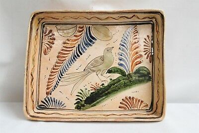Tlaquepaque Mexican Bird Leaves Green Ground Pottery Oblong Pan