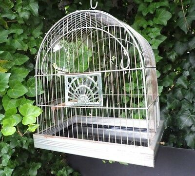 Vintage Crown Metal Dome Bird Cage Pet Parakeet Canary Lovebird Bars Pull-Out