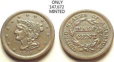 Sharp Au/unc 1851 Braided Hair Half Cent-Low Mintage-Great Color! Free Shipping!
