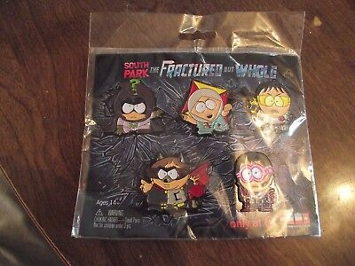 """Cute Signed """"SOUTH PARK The FRACTURED but WHOLE"""" 5 Piece Large Tac Pin Set"""