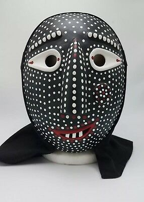 Signed Japanese Carved Wood Noh Kabuki Mask w White & Red Dots