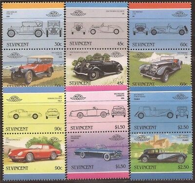 St Vincent - 1986 Cars - Set of 6 Stamp Pairs MNH - Scott #906-11