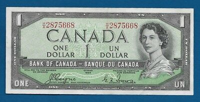 Canada Devil's Face Hairdo $1 Dollar L.1954 P-66a Coyne-Towers Sign Vintage Note