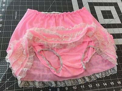 Vintage half slip built in lace panties nylon pink lingerie size 10 Girls 1960s