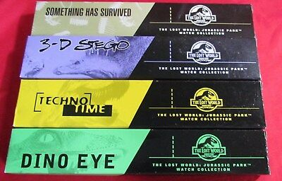 Complete Set Of 4 Burger King Jurassic Park Lost World Watches, 1997, NEW in Box