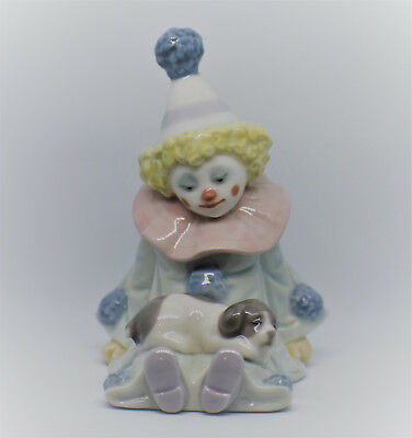 """Lladro Clown With Dog/Puppy Figurine Spain Daisia 1985 4.8"""" Mint Condition"""