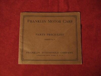 1914? Franklin Series 6 Parts Price List manual Book Catalog Old Original