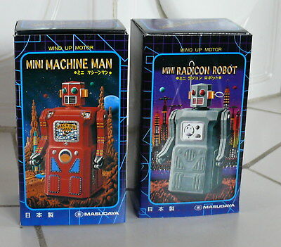 2 x Masudaya Wind-up Mini Tin Robot 1 xMachine Man and 1 xRadicon Robot (N3454)