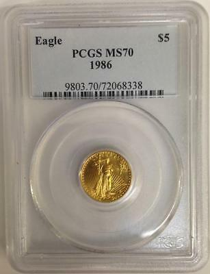 1986 $5 Gold Eagle Pcgs Ms70 Low Pop 68 Coins * First Year * Old Blue Label