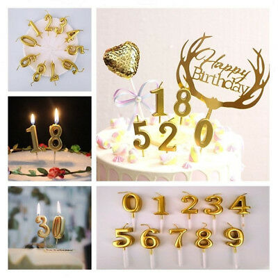 Number 0-9 Happy Birthday Cake Candles Gold Topper Party Supplies Decoration