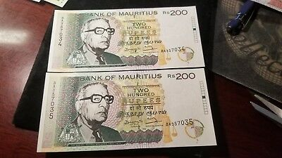 Lot Of 2 Consecutive 1998 Bank Of Mauritius 200 Rupee Banknotes Gem Uncirculated