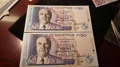 Lot Of 2 Consecutive 1998 Bank Of Mauritius 50 Rupee Banknotes Gem Uncirculated