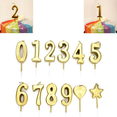 1Pcs Number 0~9 Happy Birthday Cake Candles Gold Topper Decoration Party Supply