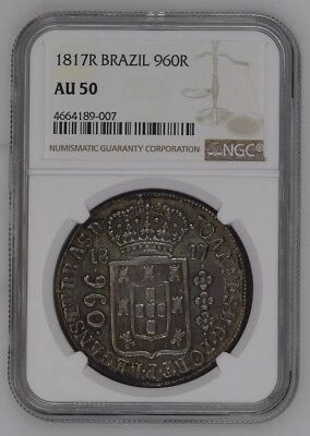 "1817 R Brazil 960 Reis; NGC AU50 Over 8 Reales Lima Charles IIII; ""Obv On Rev"""