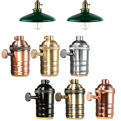 Industrial Vintage Pendant  Lamp Brass Copper Light Socket 6 Finishes 2 way Knob