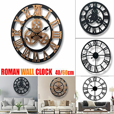 Large Vintage Style Roman Numerals Skeleton Round Wall Clock Home Decor Gift