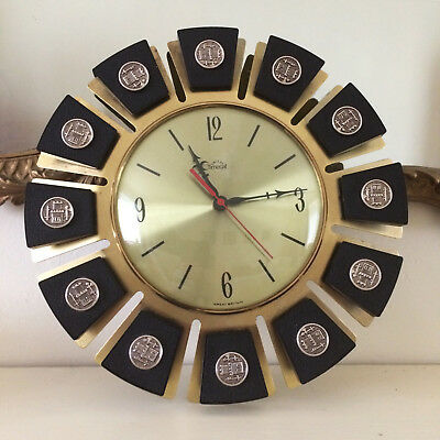 VINTAGE 1960s SMITHS TIMECAL WALL CLOCK KITSCH SUNBURST DESIGN WORKING ORDER