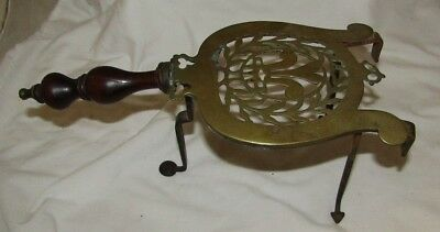 Antique Wrought Iron & Brass Hand Forged Sad Iron Trivet Kitchen Fireplace Stand