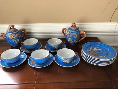 Vintage Porcelain Japanese Dragonware Moriage Tea Set and bread plates Lithopane