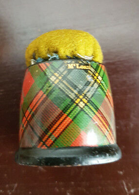 Antique Tartanware Pin Cushion Mc Lean Tartan Ware Treen