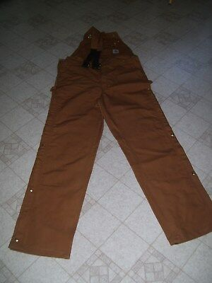 Carhartt Bib Overealls  R 37 Brown 38X36 New