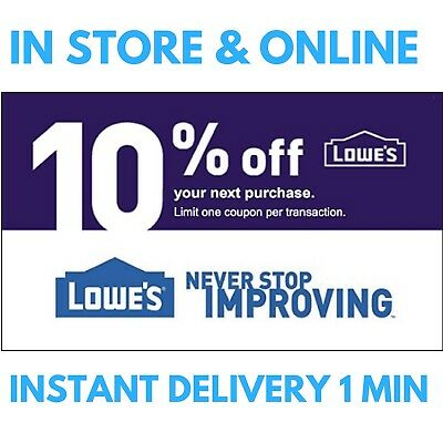 TWO (2X) LOWES 10% OFF LOWE'S INSTORE/ONLINE2COUPONS EXP/09/30 _ Emailed In 1min