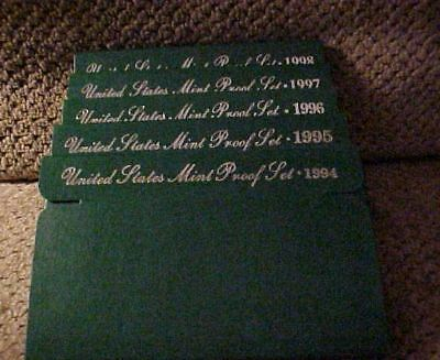 """Complete Run of """"Green Box"""" Proof Sets 1994-1998"""