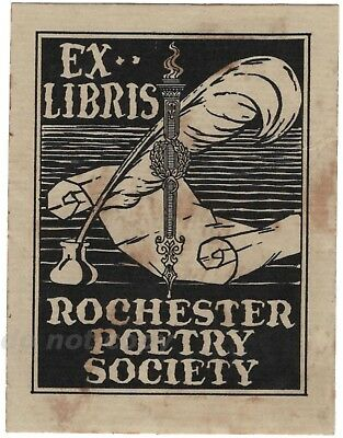Rochester Poetry Society Ex Libris Vintage Bookplate NY Quill Ink Well Scroll