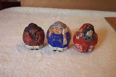 """3 Wood Carved Kokeshi Asian Oriental Hand Painted 2"""" Figurines Maroon Blue Red"""