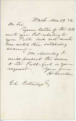 ALS by Hannibal Hamlin, Lincoln's V.P., Govr. Maine, USS and MOC