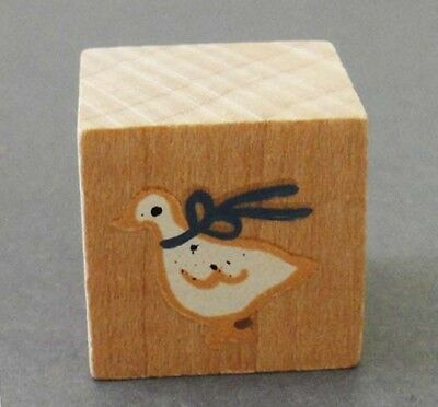 VINTAGE CUTE GOOSE Miniature Hand Made/Painted Solid Wood Square Box with Goose