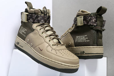 newest collection 6bcfb 41632 NEW NIKE SF Af1 Air Force 1 Mid Mens 917753-201 Olive Cargo Khaki Shoes Camo