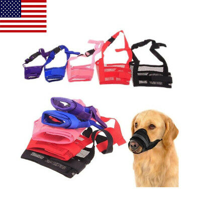 US Adjustable Puppy Dog Train Mask Anti Bark Bite Mesh Pitbull Mouth Muzzle Mask