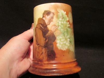 Monk Picking Grapes on Beautiful Vintage Tankard Signed with Crown & R C