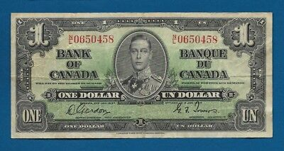 Canada 1 Dollar 1937 P-58d Sign Gordon-Towers Vintage Canadian Banknote