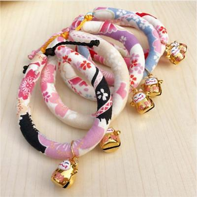 Pet Collar Adjustable Flower Print with Bell Necklace for Dog Cat Pet Puppy W