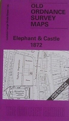 Old Ordnance Survey Map London Elephant & Castle 1872 Large Scale Map Brand New