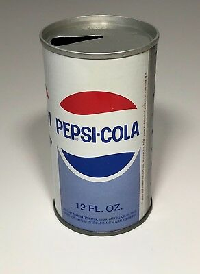 PEPSI COLA SODA METAL STEEL CAN PULL TAB TOP OPENED VINTAGE 1970's ORIGINAL