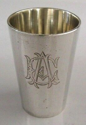 SOLID SILVER WHISKY VODKA TOT SHOT CUP GERMANY c1900 ENGRAVED EA or AE