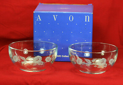 2 Vintage Avon 24% Lead Crystal Hummingbird Cereal Dessert Bowls With Box