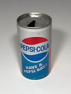 PEPSI COLA SODA ALUMINUM CAN PULL TAB TOP OPENED VINTAGE 1970's HAVE A PEPSI DAY