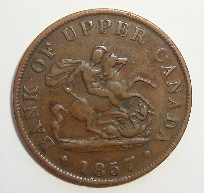 1857 Bank Of Upper Canada Half Penny Dragon Slayer Token Coin