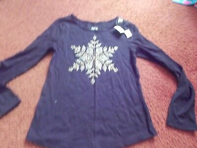justice --  girls size 10 black glittery snow flake ls top--nwt