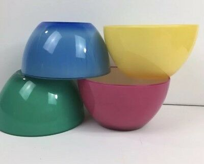 "Set 4 Ice Cream Melamine 6"" Bowls Melmac Yellow Pink Blue Green Outdoor Pool BBQ"