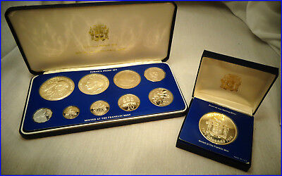 1976 Sterling Silver Jamaica Coins: Complete 9-Coin Proof Set & $10 Ster. Silver