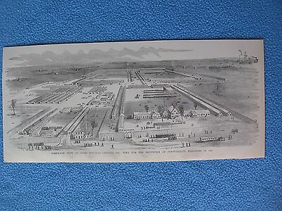 1884 Civil War Print - Camp Douglas, Prison for Confederates, Chicago IL