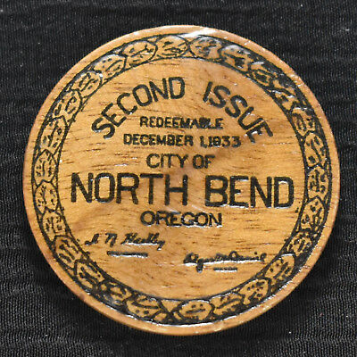 1933 NORTH BEND, OR, 25 CENTS WOODEN DEPRESSION SCRIP, OR261-.25a