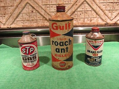 Vintage Oil Steel Can Lot Of 3 As Found  STP Gulf Wagner All Cone Top Grimey Fun
